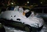 Припаркованную во дворе машину завалили мусором
